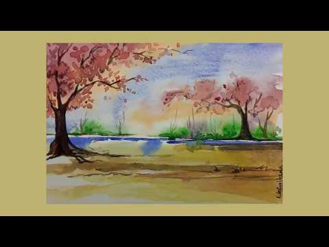 Abstract landscape in water color created By Neha