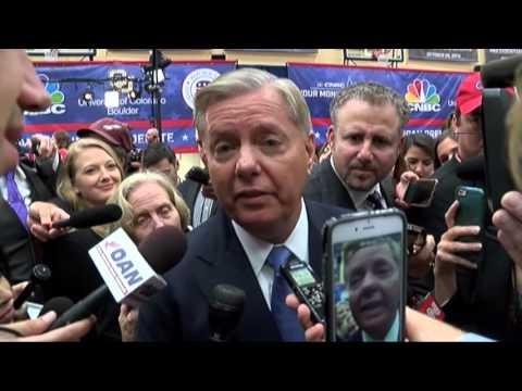 South Carolina Sen. Lindsey Graham moments after Boulder GOP Debate