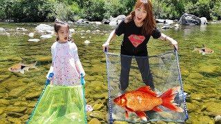 물고기를 잘 잡을수 있는 그물이 있어요!! 서은이의 물고기 낚시 그물 계곡 물놀이 Fishing with Fishnet