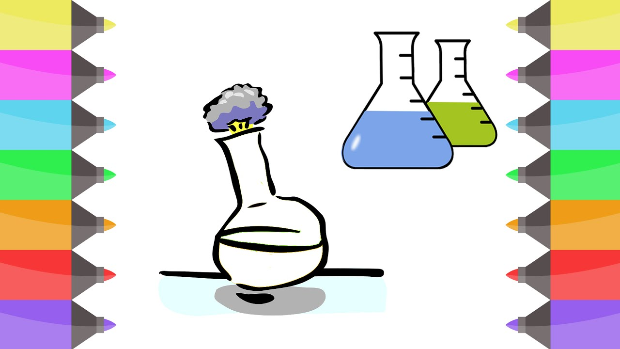 how to draw glass test tube science colouring book for kids