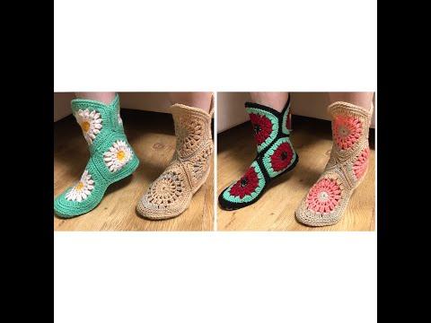 Вязаные тапки-носки-сапожки