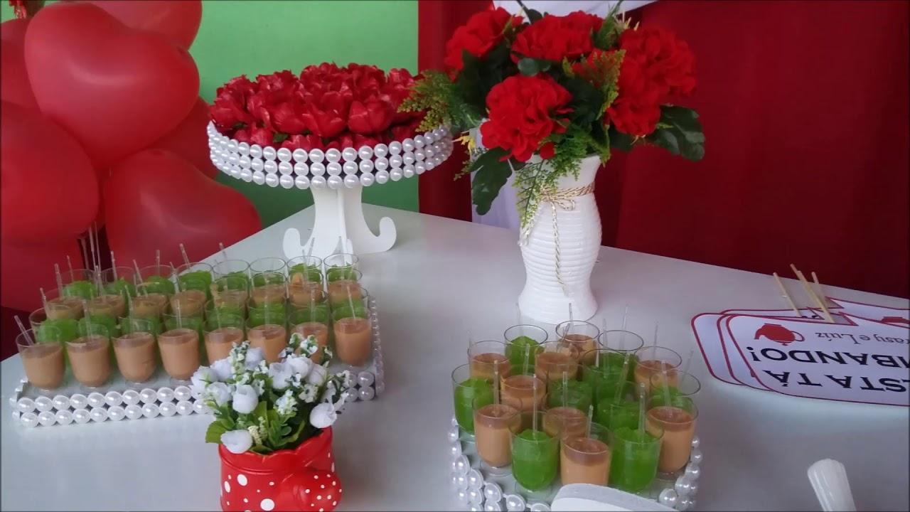 Chá de Panela Decoraç u00e3o Vermelho e Branco YouTube -> Decoração De Cha De Panela Vermelho E Branco Simples