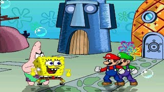 Spongebob & Patrick vs Mario & Luigi TAG MUGEN Battle!!!