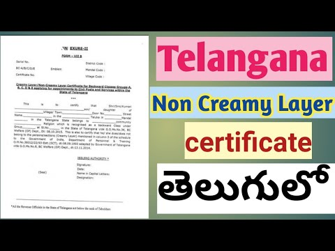 Non creamy layer certificate (Telangana) in Telugu || how to get non creamy  layer certificate