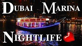 [4k] Walking At Night On Dubai Marina   Dubai Marina Nightlife   Uae, 2019