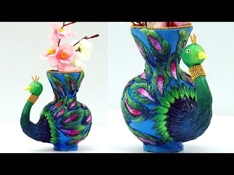 DIY Clay Pot Painting and Designs : How to Decorate Flower Pot with Clay | Clay Peacock Tutorial