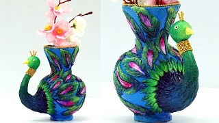 DIY Clay Pot Painting and Designs : How to Decorate Flower Pot with Clay   Clay Peacock Tutorial