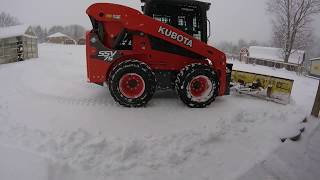 Snow Plowing with our Kubota SSV 75 skidsteer