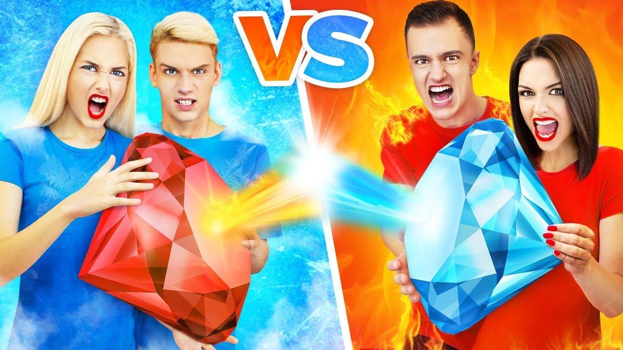 Desafío épico pareja fuego vs pareja hielo || Desafío de parejas, bromas y trucos locos de RATATA