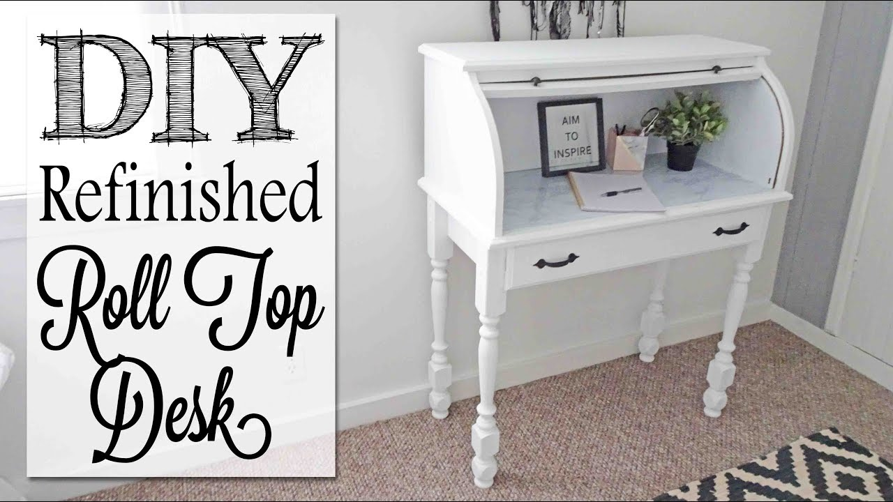 DIY Refinished Roll Top Desk   Before & After