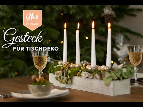 weihnachtsdeko basteln gesteck f r h bsche tischdeko how to deko kitchenen youtube. Black Bedroom Furniture Sets. Home Design Ideas