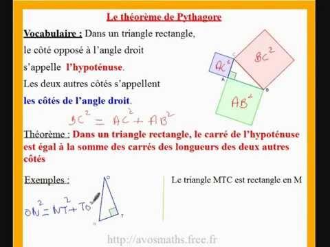 4ème cours de maths sur le théorème de Pythagore ( et ...