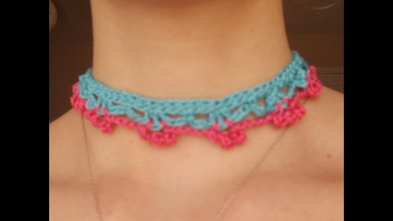 How to crochet a Choker/Necklace - YouTube