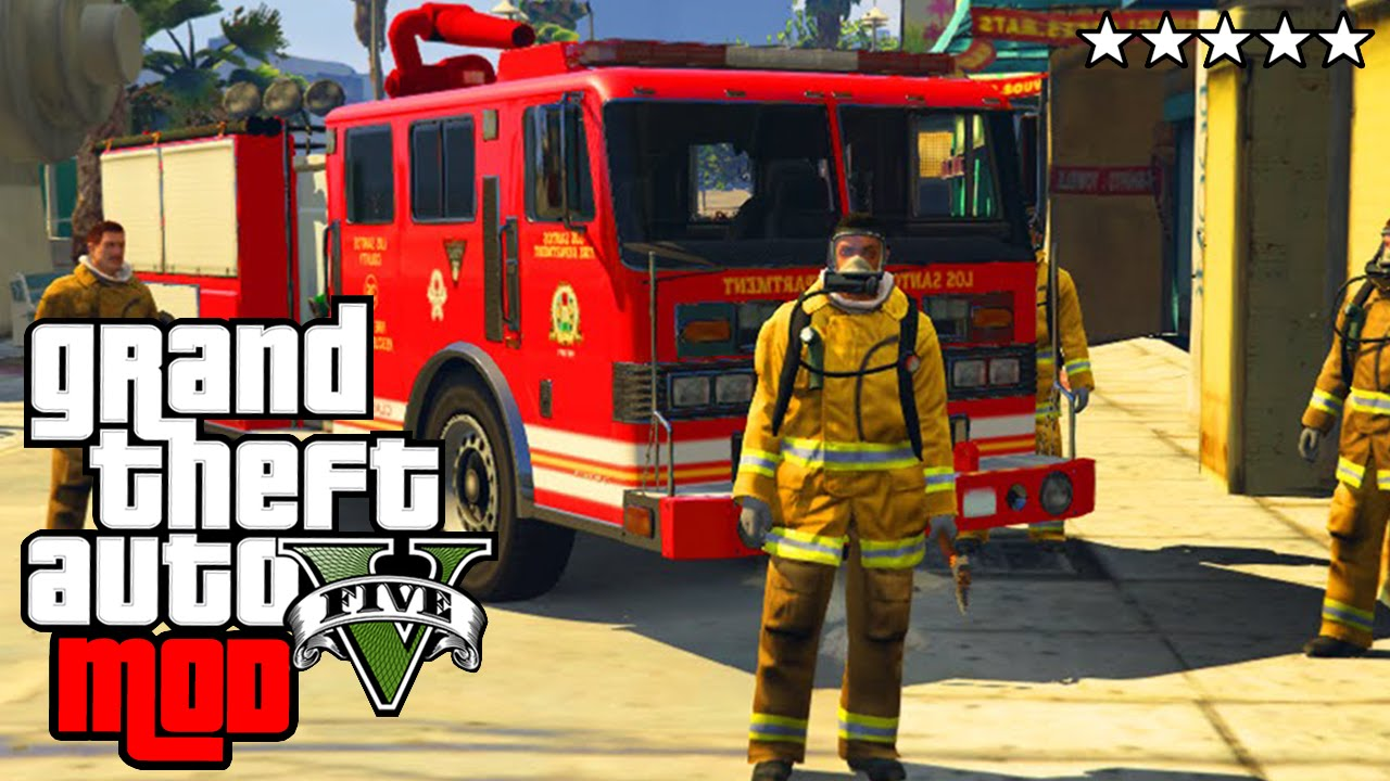 jouer les pompiers a los santos gta 5 fireman mod. Black Bedroom Furniture Sets. Home Design Ideas