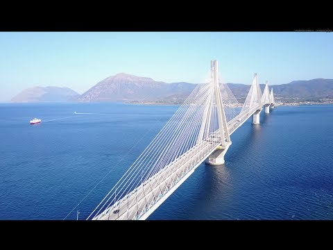 Rio-Antirrio Greece,cable-suspended bridge,shot with DJI Mavic Pro