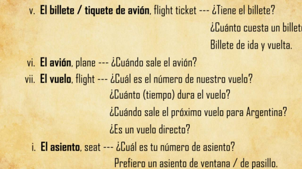 how to say airport in spanish