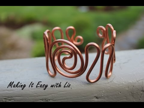 "Easy Wire Work Cuff Bracelet - ""Atlantic Waves"""