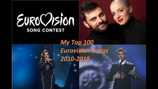 My Top 100 Eurovision Songs (2010-2018)