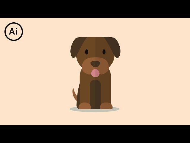 Flat Design Puppy - Illustrator Tutorial