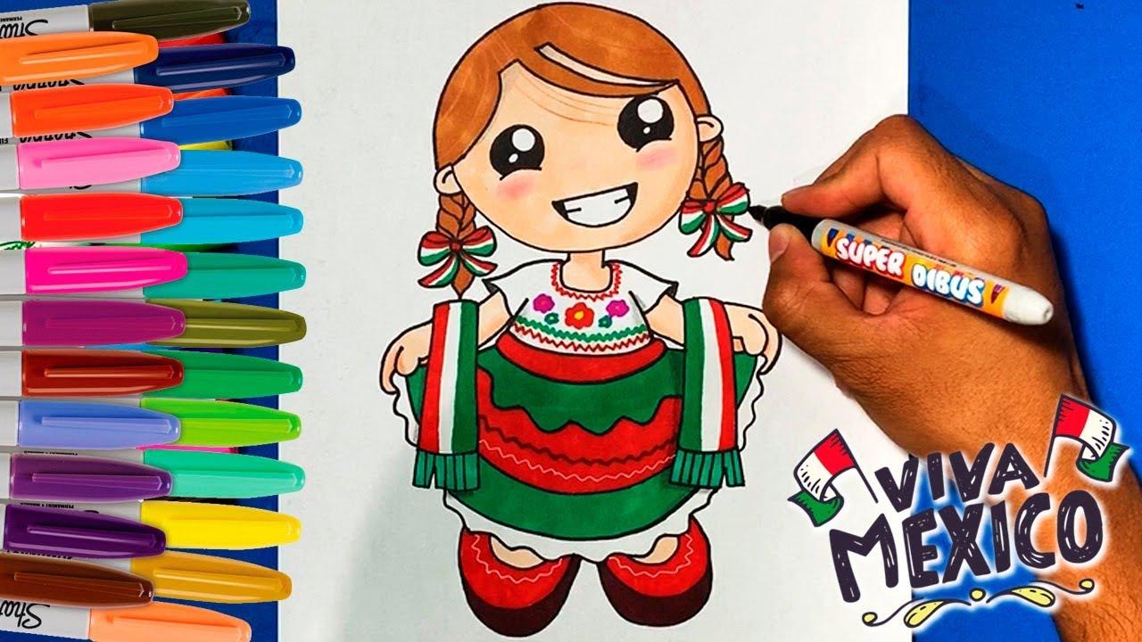 Como Dibujar A Una China Poblana Con Su Traje Tipico Fiesta Mexicana 2019