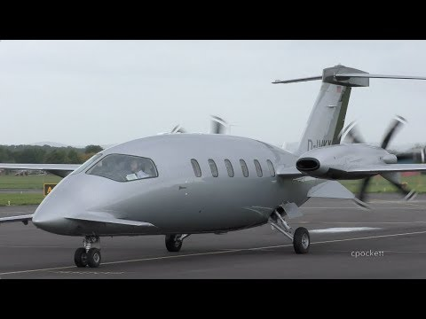 Piaggio Avanti P180 D-INKY - Close up/Shut down/Start up/Take off - Gloucestershire Airport