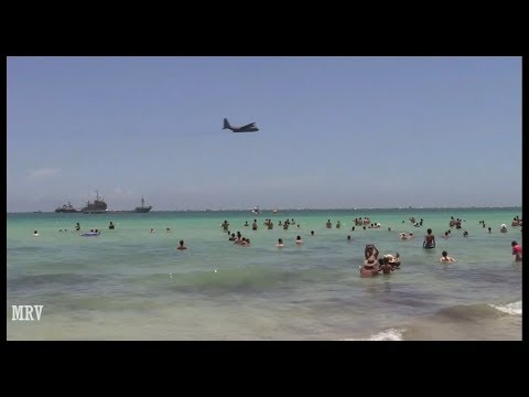 The American air force shows performances on the beach miami