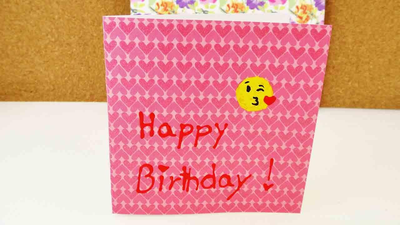geburtstagskarte mit emoji happy birthday card mit herz super s e karte selber machen diy. Black Bedroom Furniture Sets. Home Design Ideas