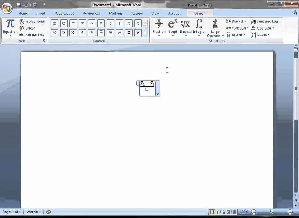 Inserting An Equation For A Test Statistic In Microsoft Word Youtube