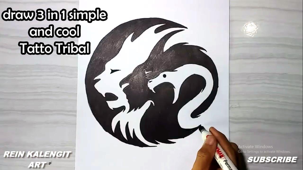 Menggambar Tatto Tribal 17 3 In 1 Simpel Dan Keren
