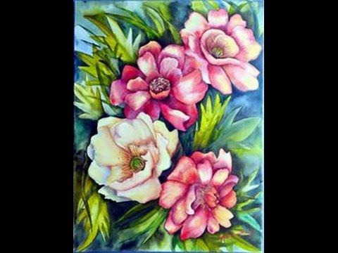 Como pintar flores y hojas acrilicos herminia devoto - Pintar con acrilicos paso a paso ...