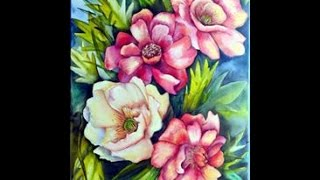 Como pintar flores e folhas em acrílico com  Herminia Devoto