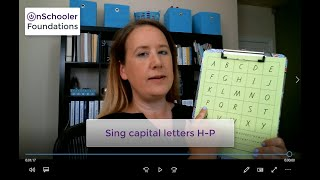 C2-Sing with capital letters H-P (Point to uppercase H through P with the alphabet song)