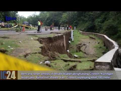 Ngeri.. Tanah amblas Jalur Cirebon - Kuningan Terancam terputus