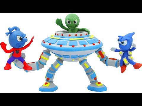 TINY SONIC MEETS SUPERHERO ALIEN 💖 CLAY MIXER Animation Cartoons Play Doh