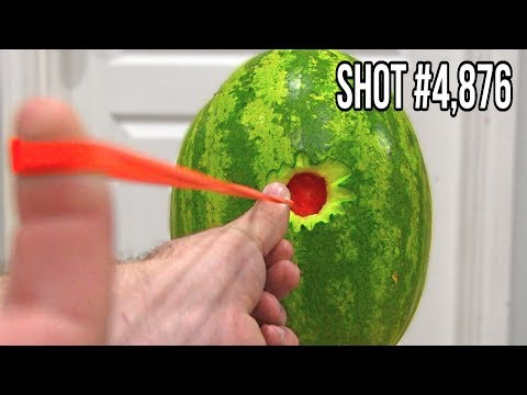 Can You Shoot Through A Watermelon With Only Rubber Bands?
