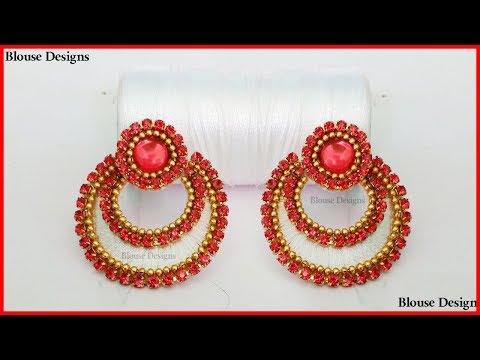 Chandbali Silk Thread Earrings Making Tutorial Diy | Designer Silk Thread Chandbali Earrings