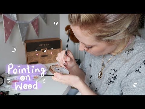 Painting On Wood Slices! | Gouache On Wood