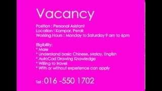 Vacancy, Career, Job in Malaysia, Perak, Kampar, Ipoh
