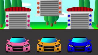 colors for children to learn with cars and garage for kids
