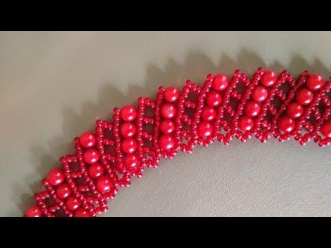Beautiful beaded necklace. DIY. Колье из бисера и бусин # Бисерная сетка