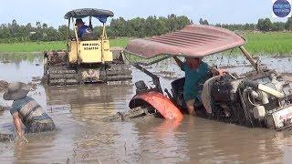 máy ủi kéo kubota 6040 lọt hầm và cái kết/vietnam tractor