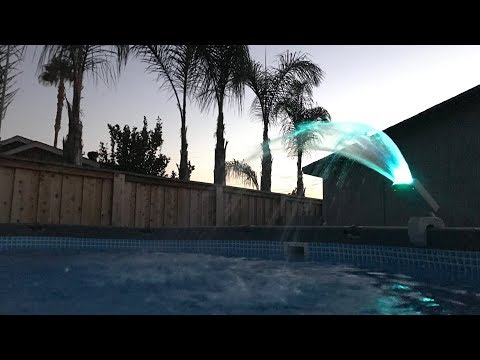 Intex Fountain & Solar Disco Lights at Night | Above Ground Pool Lights