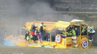 Duck boat on fire on river Thames