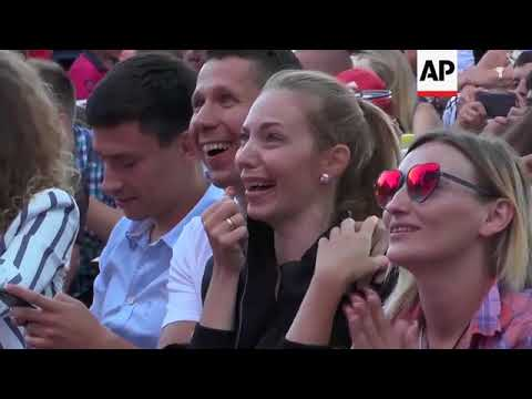 Russia WC Fans In Crimea Celebrate Win Over Spain