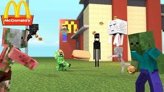 Monster School: MCDONALDS FOOD FIGHT CHALLENGE!! - Minecraft Animation