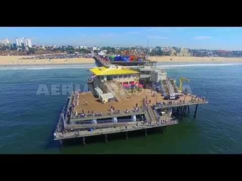 Los Angeles Aerial Filming and Cinematography Services - Santa Monica Beach and Pier, California