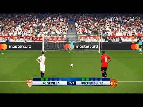 SEVILLA vs MANCHESTER UNITED   UEFA Champions League - UCL   Penalty Shootout   PES 2018 Gameplay