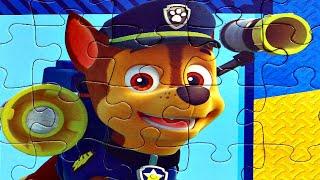 Щенячий патруль Гонщик Маршал и Крепыш собираем пазлы для детей с героями мультика щенячий патруль
