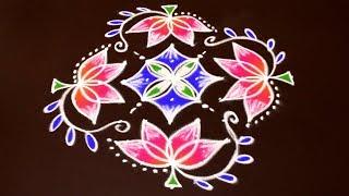 Rangoli Art | 11 to 1 Dots | Easy Rangoli Designs with Kolam by Sunitha #904