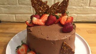 Шоколадный торт с пралине и ганашем